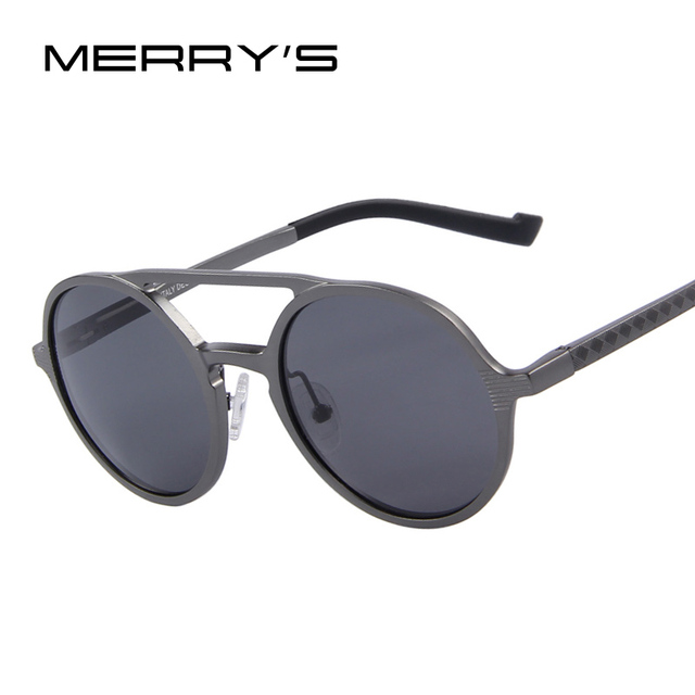 MERRY'S Fashion Men Round Polarized Sunglasses Retro Aluminum Frame Women Sunglasses Oculos de sol UV400