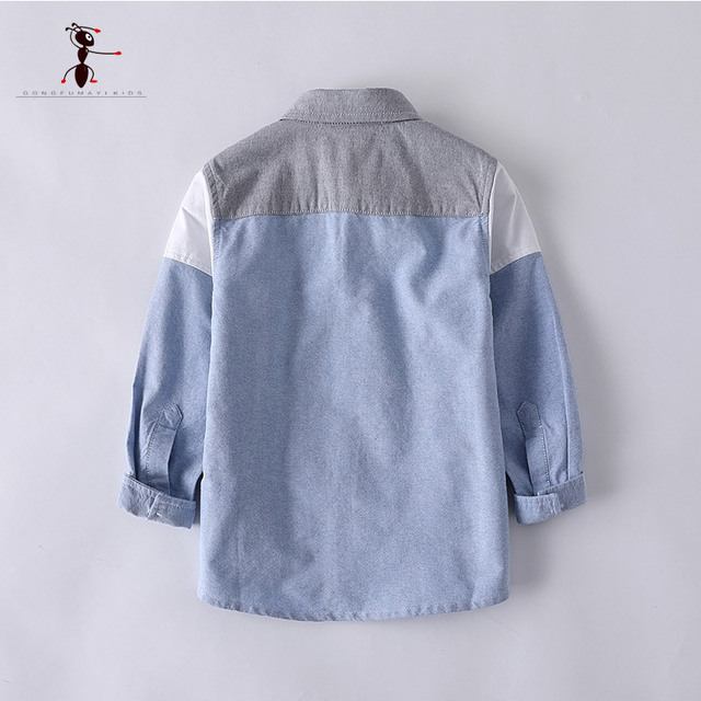 Kung Fu Ant Mixed Color Boys Shirts European Style Blue Yellow Full Sleeve Casual School Uniforms Blouses Turn-down Collar 2926