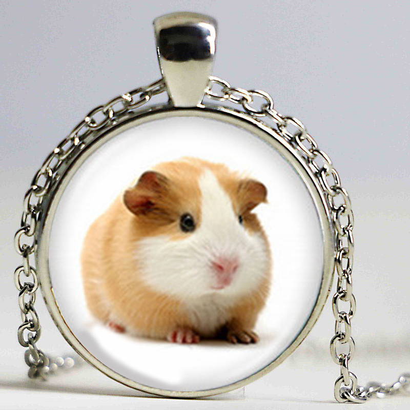 Small Furry Animal Necklace Glass Photo Locket Pendant Guinea Pig Necklace Lovely Guinea Pig Jewelry Accessories