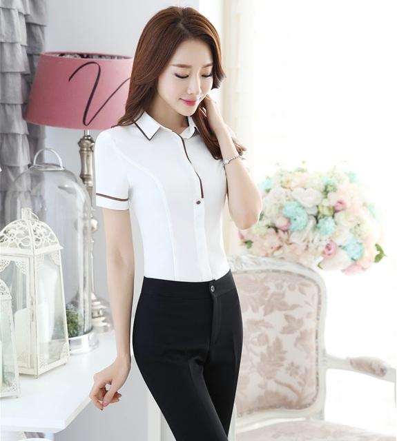 Novidade Branco Formal Estilo Uniforme Pantsuits Escritório Profissional Desgaste do Trabalho Se Adapte Às Blusas E Calças Calças Das Senhoras Conjuntos