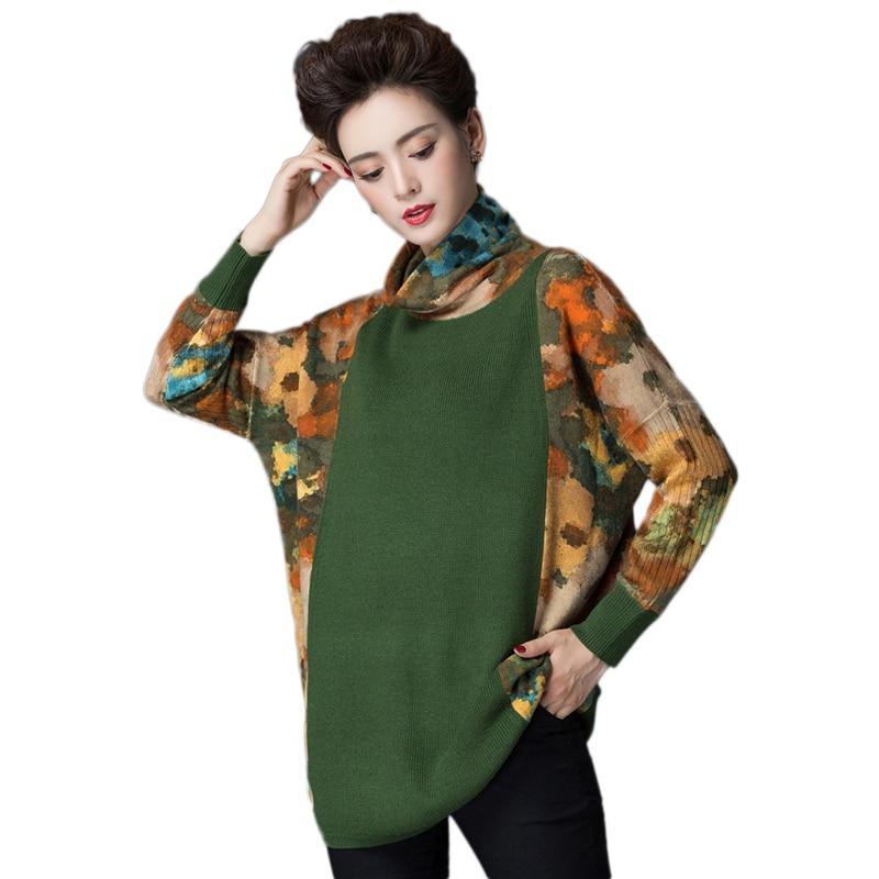 Femme Mode Haut Green Lâche Chandail Taille Mi 2019 Tricots Grande Femmes Printemps Impression Pull yellow De Vs360 Automne Laine Nouveau long Col v6TnBWqY6