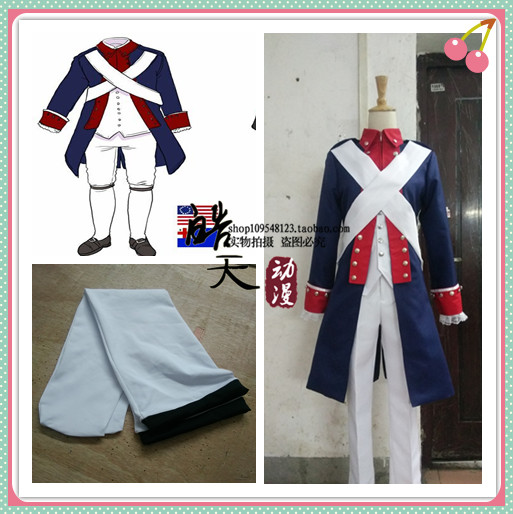APH Axis Powers Hetalia USA Alfred F. Jones American Revolution Version Cosplay