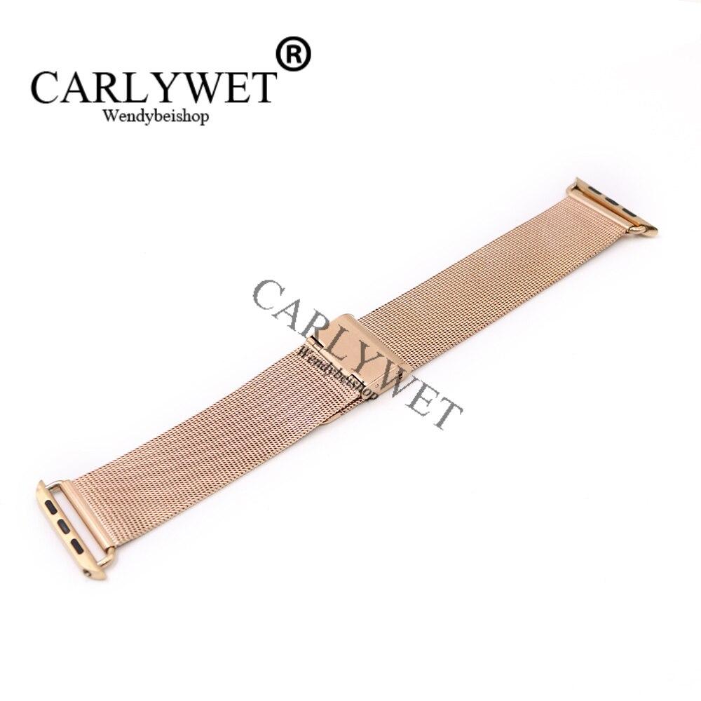 CARLYWET 38 42mm En Gros Connecteur Adaptateur Rose Or Ultra-mince Maille Inoxydable Bracelet En Acier Bracelet Pour Apple Montre iWatch