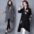 2017 National Women trench Large Turn-down Collar embroidery Irregular Long cardigan Outerwear female Open stitich YL770