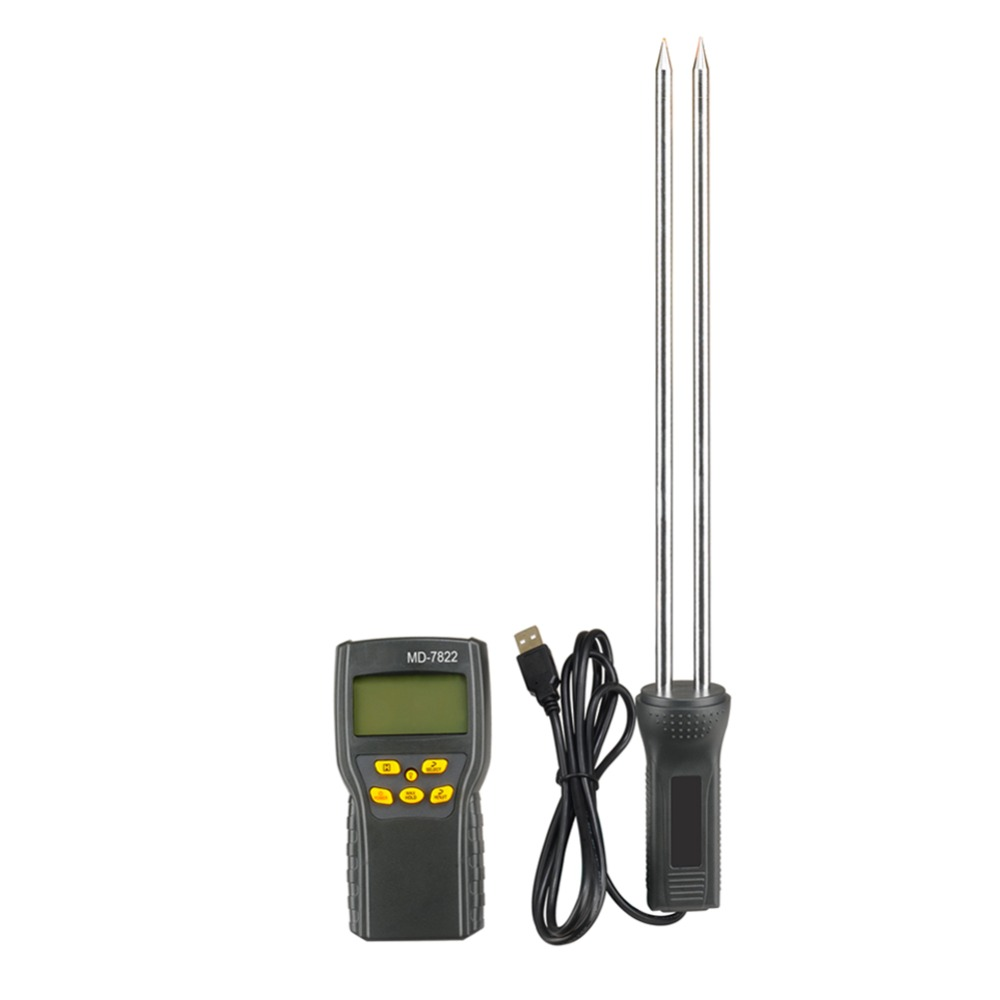 Digital Grain Moisture Temperature Meter Tester MD7822 LCD Display for Wheat Paddy Rice Corn digital multi grain moisture meter tester rice wheat rye peas corn oat 6 30% tk25g