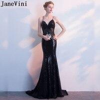 JaneVini Nedime Sexy Black Sequin Bridesmaid Dresses Backless Mermaid Long Bling Spaghetti Straps Formal Dress Party Wedding
