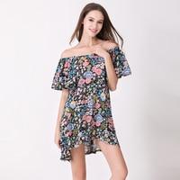 2019 Summer floral printed chiffon dress sexy dress beach mini slash neck dresses fashion vogue clothing for women brick dress
