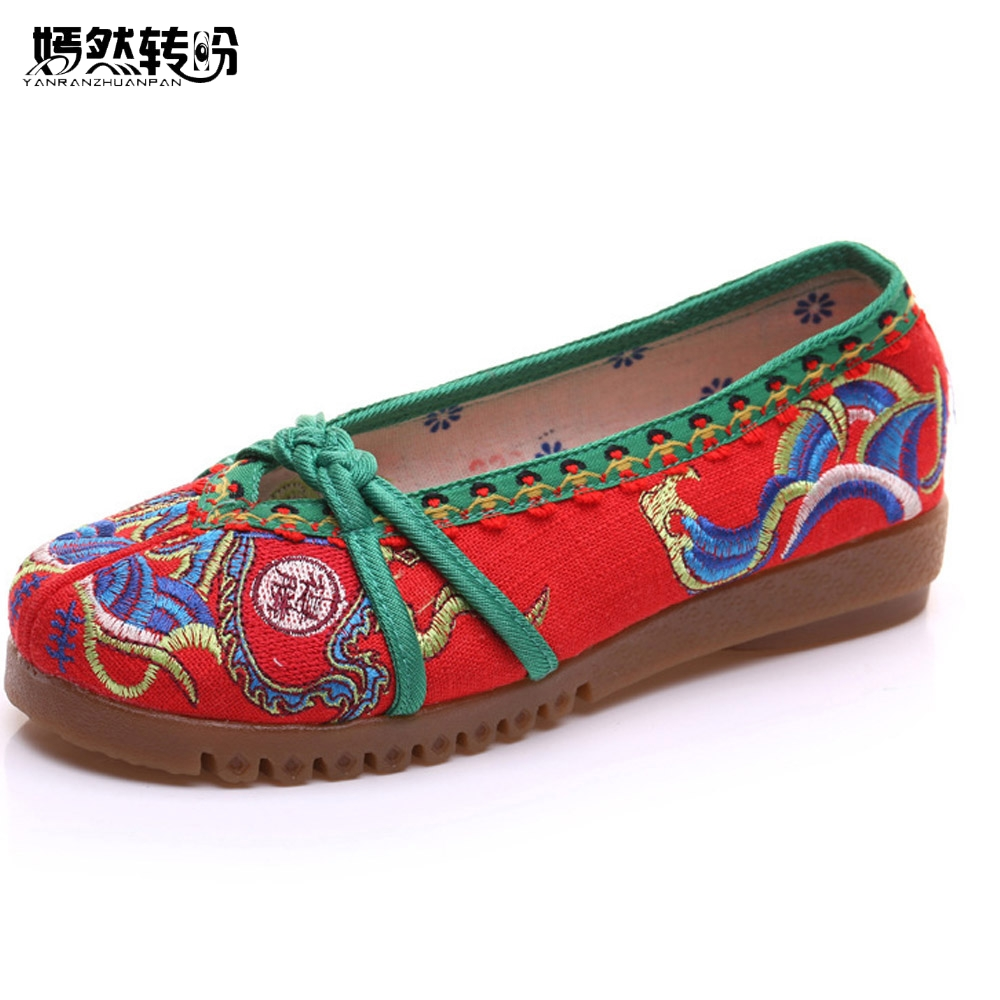 Vintage Embroidered Women Flats Casual Fabric Cloth Ballet Shoes Chinese Slip on Canvas Platforms Zapatos Mujer Shoes Woman chinese women flats shoes flowers casual embroidery soft sole cloth dance ballet flat shoes woman breathable zapatos mujer