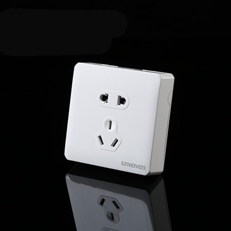 Free Shipping,KM001EU-W White Surface Mounted 5 Pins Wall Socket 10A Socket