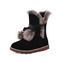 Ladies Winter Flats Heels Boots Warm Plush Snow Boots Women Shoes Lace Up Scrub Mid Calf