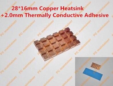 28 16mm Copper Heatsink 2 0mm Thermally Conductive Adhesive Copper MINI PCI E Interface laptop Wireless