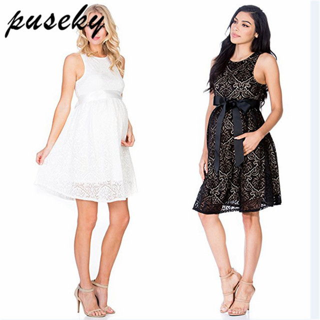 eb74416f66236 US $13.49 22% OFF Puseky Pregnant Short Dress Lace Women Casual Sleeveless  O Neck Hollow Out Evening Party Long Maxi Maternal pregnancy dresses-in ...