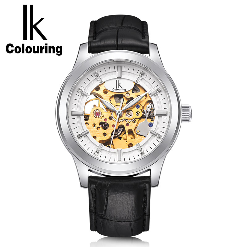 IK Colouring Skeleton Men Watches Luxury Business Casual Automatic Mechanical Wrist Watch Brown Genious Leather StrapIK Colouring Skeleton Men Watches Luxury Business Casual Automatic Mechanical Wrist Watch Brown Genious Leather Strap