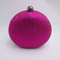 Pink Navy Round Hard Case Crystal Box Clutch Bag Evening Bags For Womens Party Prom Wedding