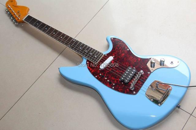 F J Aguar Model 6 String Electric Guitar In Light Blue Vintage