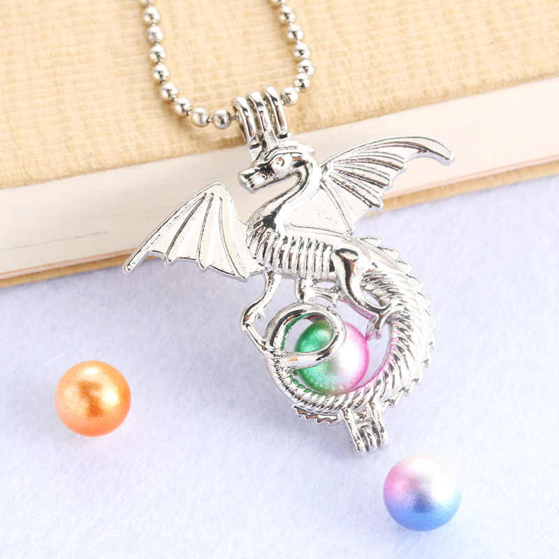 Bright Silver Dragon Pearl Cage Silver Jewelry Making Bead Cage Pendant Aroma Essential Oil Diffuser Locket For Oyster Pearl