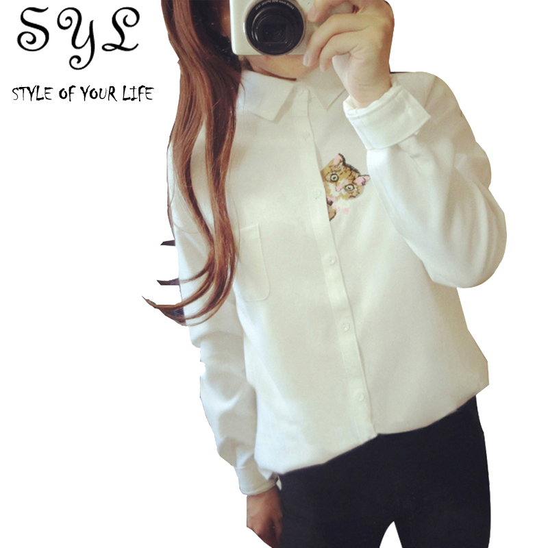 3ad5a3159 Cat embroidery 2015 spring white shirt female long-sleeve women's turn-down  collar shirt basic shirt female top