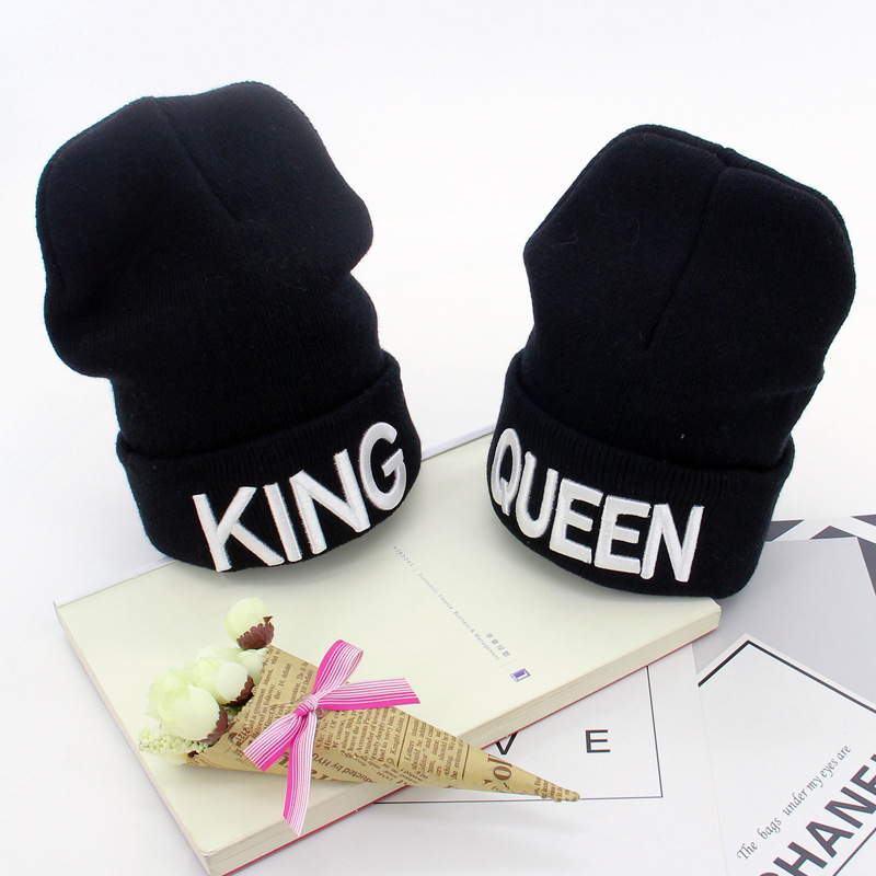 Cute Embroidery King Queen Knit Cap Winter 2019 New Elastic Knitted Hat   Skullies     Beanies   Casual Autumn Warm Caps for Women Men