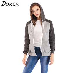 2018 New Zipper Patchwork Hoodie Women Long Sleeve Pocket Hooded Sweatshirt Casual Autumn Plus Size Jacket Moletom Feminino 5XL 3