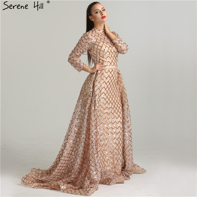 Vintage Long Sleeve Luxury Sparkly Evening Dresses 2018 Sequined ...