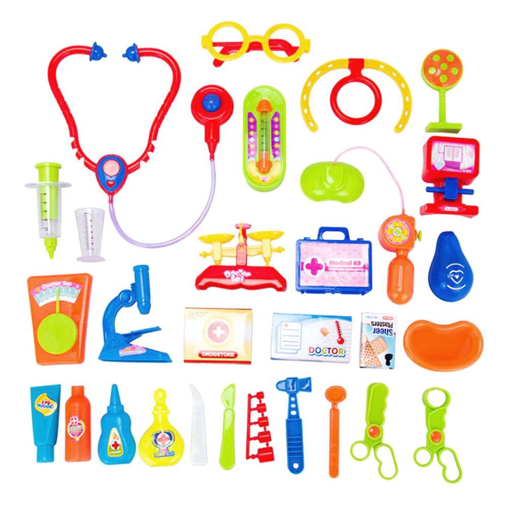 Plastic Kids Doctor Play Toys Set Doctora Juguetes for Child Medical Kit Baby Educational Box Light Role Pretend Classic Gift