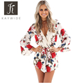 Kaywide Floral Print Summer Rompers Womens Jumpsuit  Flare Sleeve Pleated Waist Playsuit V Neck Short Sexy Bodycon Macacao Curto