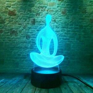 Image 5 - 3D 7変色ヨガled瞑想のアクリル夜の光の寝室イリュージョンランプリビングベッドサイドの装飾クリスマス新年