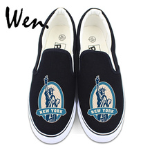 Wen Slip on Flats Shoes White Black Design New York Statue of Liberty Postmark Low Top Strapless Canvas Sneakers
