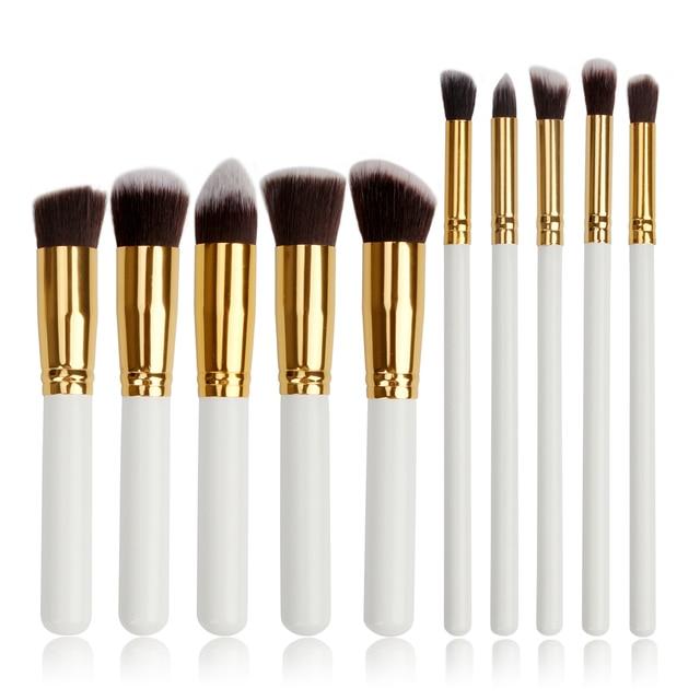 3 color 10 unids/set Herramientas de Pincel de Maquillaje Profesional Set Powder Blush alta Luz de la Sombra de Ojos Cejas Eyeliner Maquillaje Cepillos Kit de Herramientas