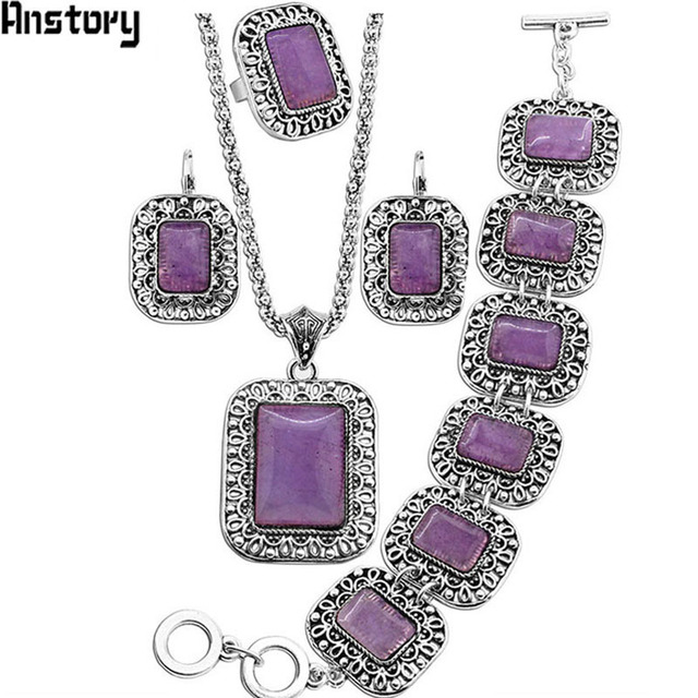 Natural Purple Stone Jewelry Sets Flower Pendant Necklace Bracelet Earrings Ring Set For Women Antique Silver Plated Party Gift