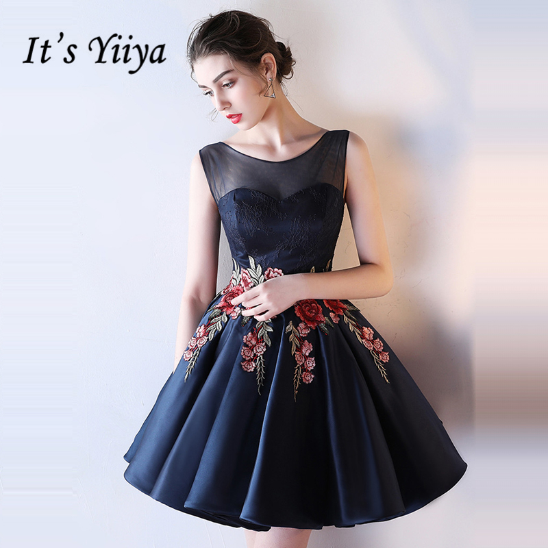 It's YiiYa Cocktail Dress 2018 Sleeveless Embroidery Illusion Party Fashion Designer Elegant Short Cocktail Gowns LX1076