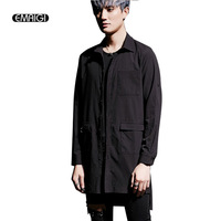 Street Fashion Hiphop Punk Men Long Sleeve Shirts Iron Rivets Male Casual Long Style Loose Shirts