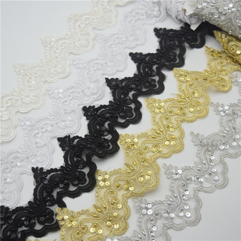 15yardd Vintage Pearl Embroidered Lace Trim Ribbon Wedding Applique DIY Sewing Craft