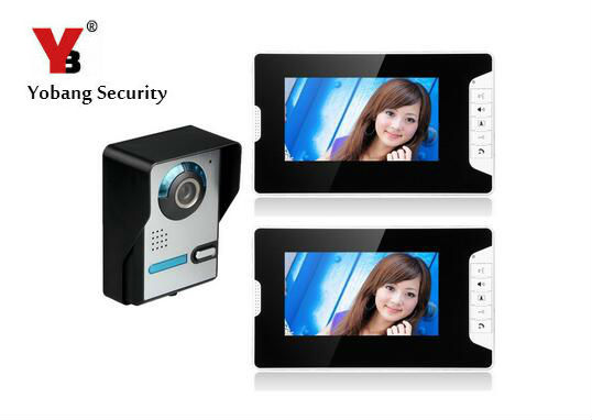 Yobang Security 7 LCD Video Intercom Doorbell Video Door Phone Bell Kits support Monitoring,Unlock,Dual-way Intercom for villa
