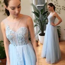 Elegante Spitze Abendkleider 2016 Hellhimmelblau A Linie Appliques Celebrity Kleider Formal Dress Tragen Vestido De Festa Longo