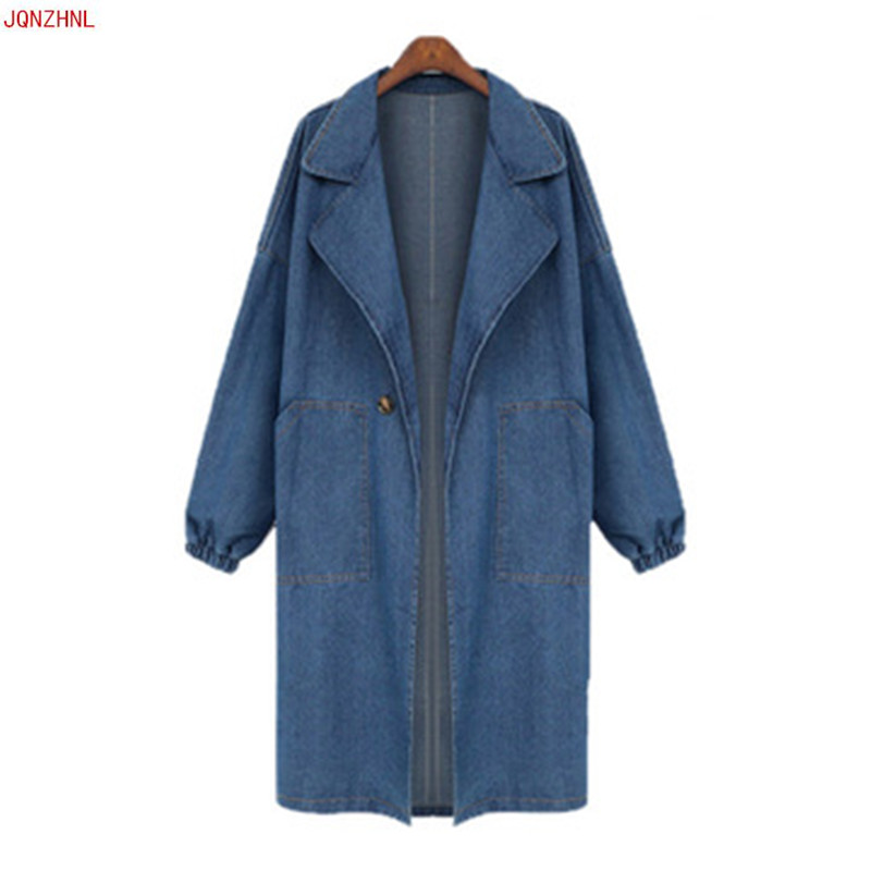 Ladies Trench Double Breaste Dleisure Long Cowboy Coat Denim Jackets