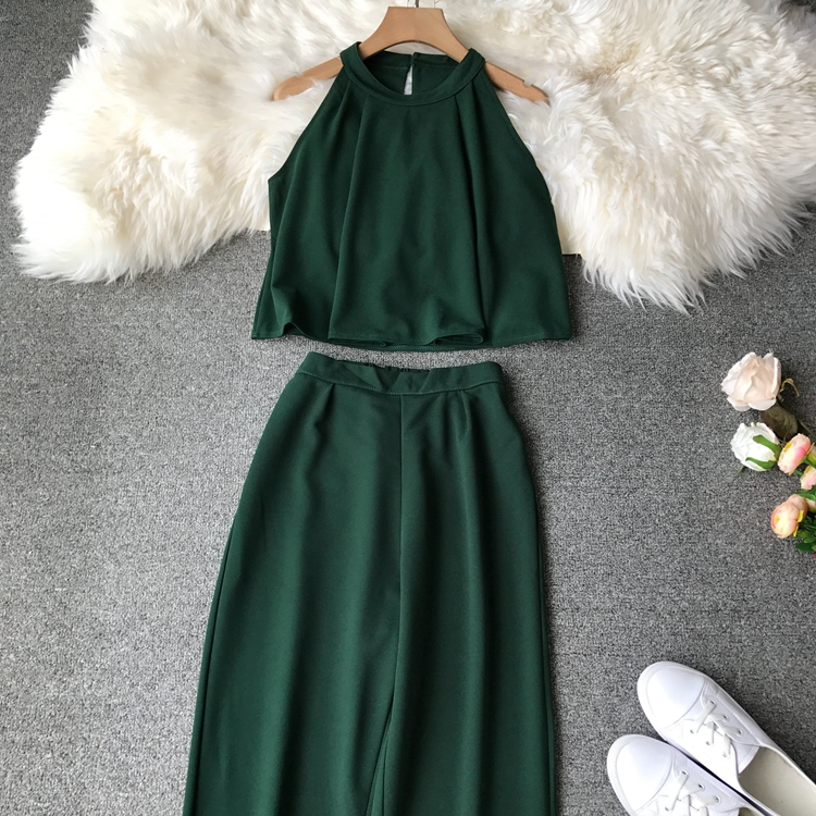 HTB1lAIxVwHqK1RjSZFEq6AGMXXa3 - two piece set women fashion sexy short top and long pants casual sleeveless Elastic high waist female summer festival clothing