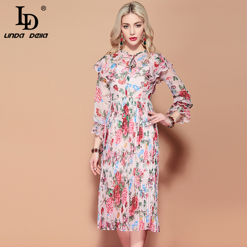 LD LINDA DELLA 2019 Fashion Runway Summer Dress Women s Long Sleeve Vintage Floral Print Pleated