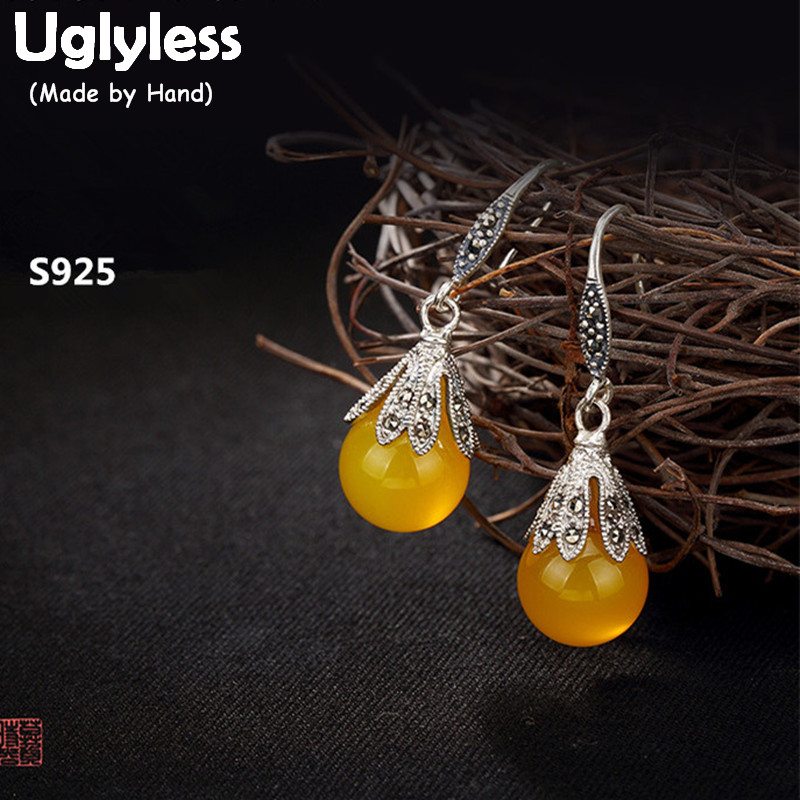 Uglyless Real 925 Sterling Silver Nature Yellow Chalcedony Dangle Earrings Women Marcasite Jewelry Vintage Brincos Ethnic Bijoux недорго, оригинальная цена