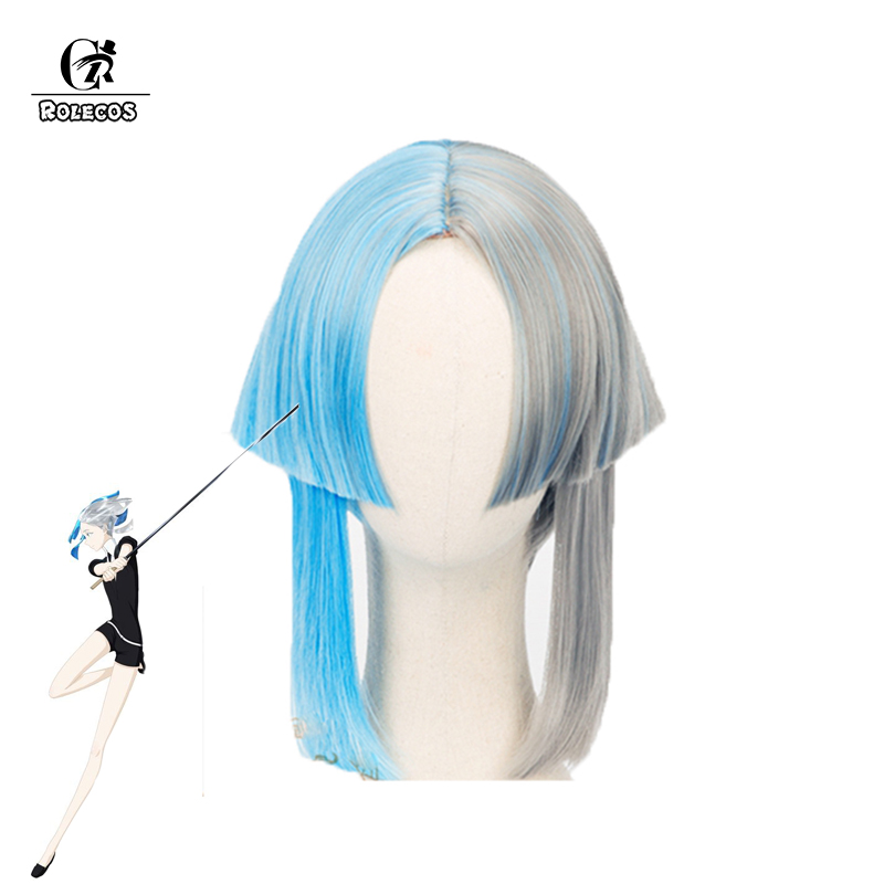 ROLECOS Land of the Lustrous Cosplay Headwear Euclase Houseki no Kuni Cosplay Grey Blue Mixed Color Synthetic Hair