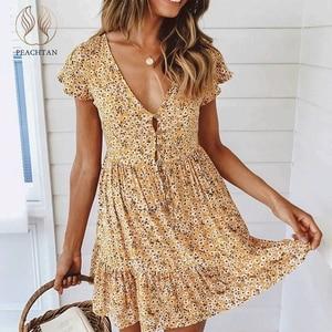 Image 1 - Peachtan Zomer korte strand jurk vrouwen V hals bloemenprint badpak cover up 2019 Feminino Jurk Vestidos Tuniek Rok beachwear