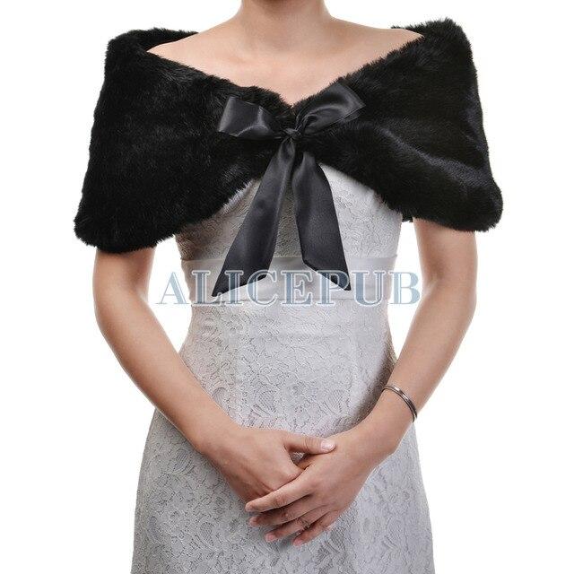 Retail Wholes Winter Womens Black Faux Fur Bridal Cape Bolero Wedding Shawls Wrap Cloak Shrug Cover