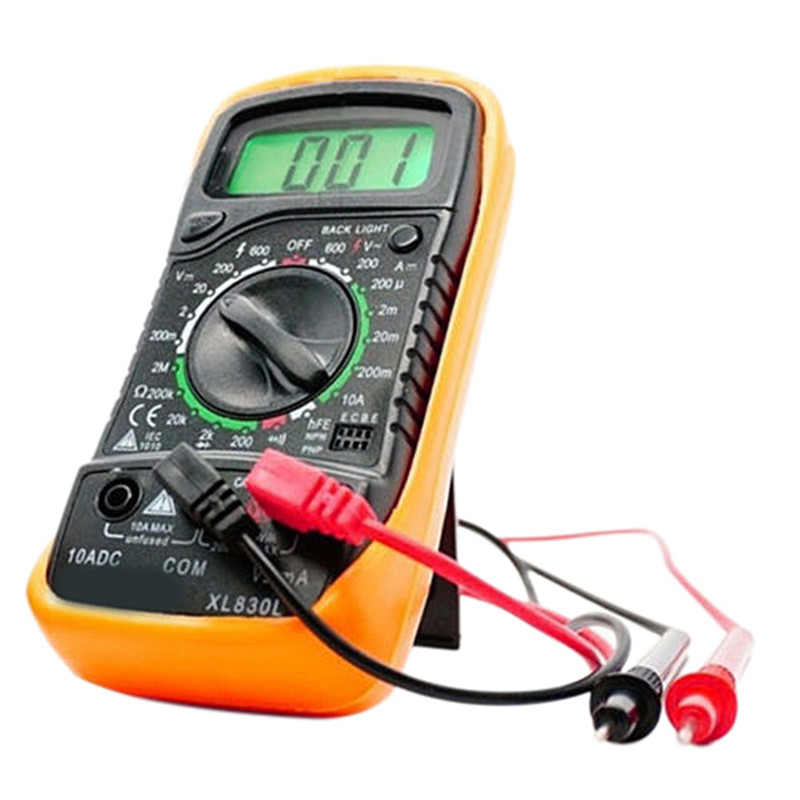 Handheld Tester Meter Digital LCD Multimeter Voltmeter Ammeter AC DC Ohmmeter Volt Tester Test Current Multitester Yellow T0.05