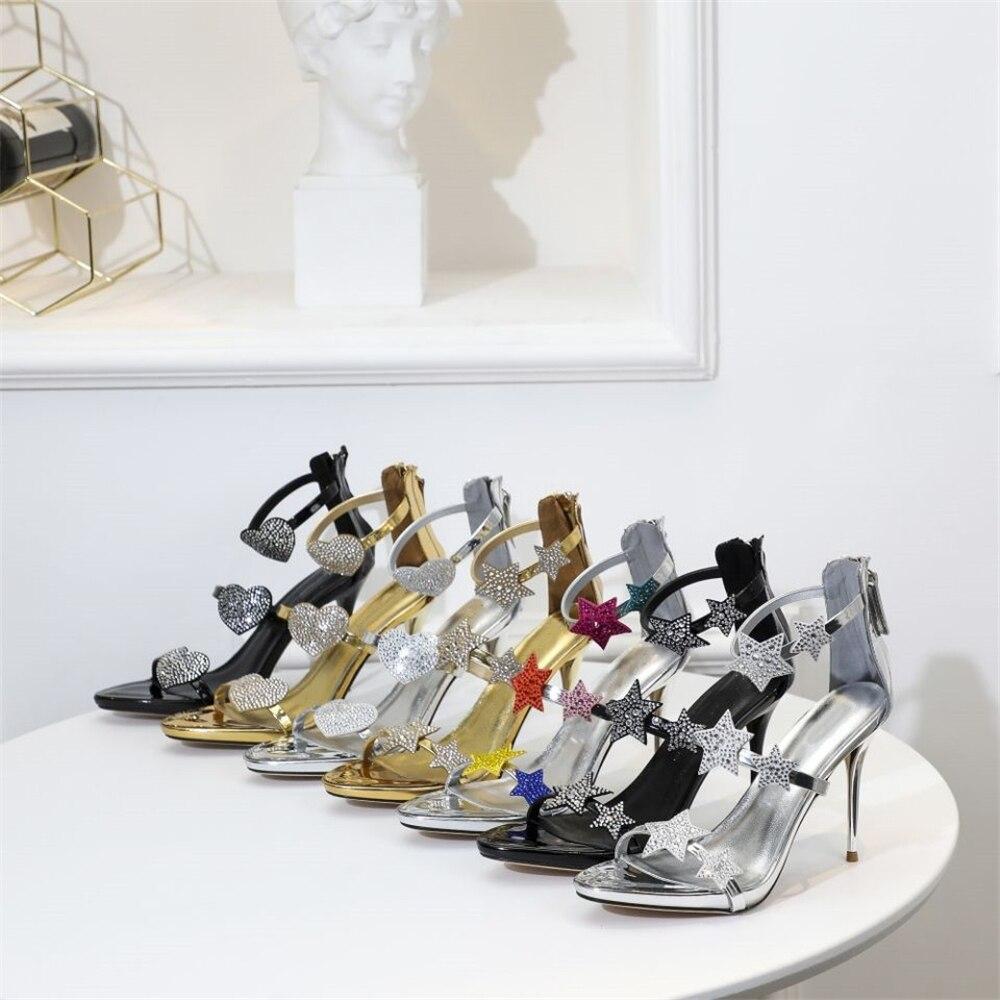 Stkehidba 2019 sandales en cuir bride à la cheville talons femmes sandales chaussures d'été femmes bout ouvert mince talons hauts robe de soirée sandales-in Sandales femme from Chaussures    1