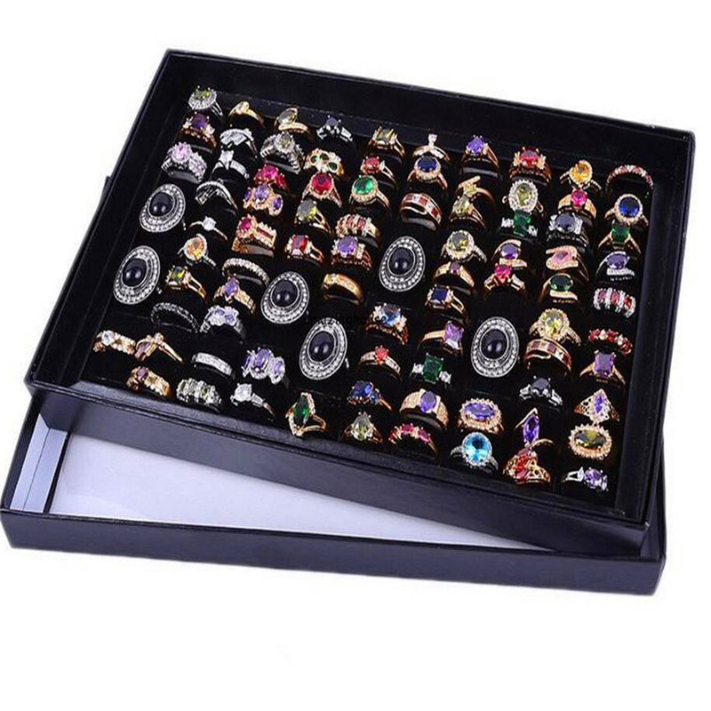 100 Slots Soft Velvet Ring Earrings Display Box Tray Storage Case