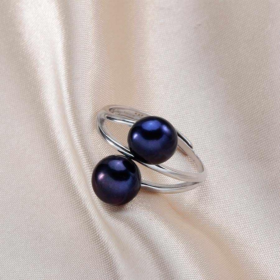 แฟชั่น S925 แหวนเงินแท้ผู้หญิงสูง 5A ธรรมชาติ Pearl แหวนคู่เครื่องประดับไข่มุก 8-9 มิลลิเมตร Lindo