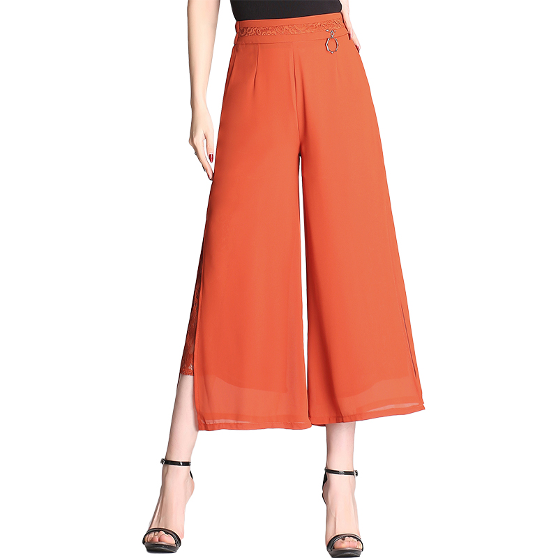 Big Size Black High Waist Wide leg Pants Women Spring Summer 2018 Loose Casual Ankle Length Lace Patchwork Womens Pants Chiffon