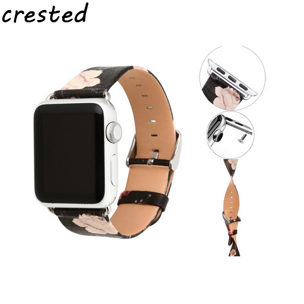 купить CRESTED leather watch band for apple watch 42mm/38 watch strap male female belt Painting Bracelet watchband for iwatch 1/2 по цене 685.28 рублей