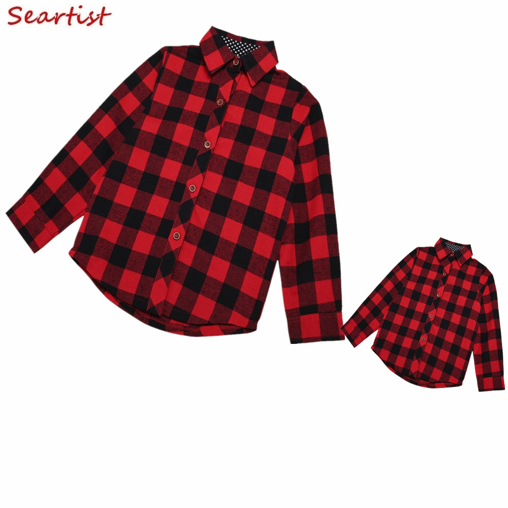 Mother and Daughter Shirt Mom and Girl Red Plaid Matching Family Blouse Baby Girls Spring Cotton Top Shirt 2017 New Arrival 20D plaid