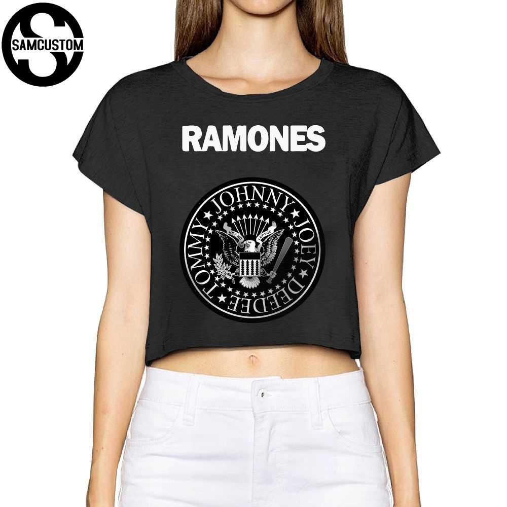 1b6cd2e3c92ba SAMCUSTOM Camisetas Real Short New Ramones 3D printing Summer Fashion  Street T Shirt Anarchy Bare midriff